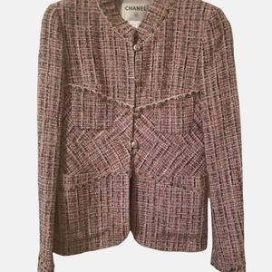 Authentic CHANEL 03A lavender multi-pastel tweed jacket